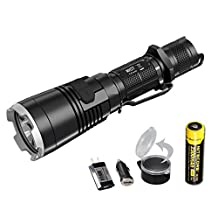 Nitecore MH27 1000 Lumens Compact Tactical LED Flashlight with Rechargeable 18650 Battery, Flip-to-Side White Diffuser or Filter, and LumenTac Charging Adapters