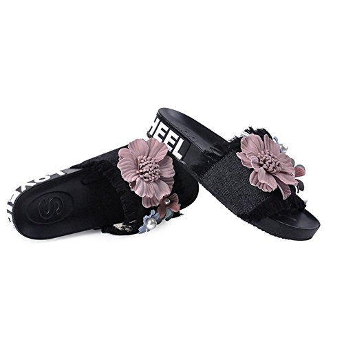 T-JULY Womens New Jeans Slippers Handmade Embroidery Flower Flat Sandals Black qwxCUy