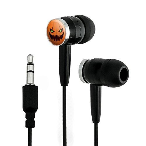 GRAPHICS & MORE Jack-o'-Lantern Pumpkin Face Halloween Decoration Novelty in-Ear Earbud Headphones - Black -