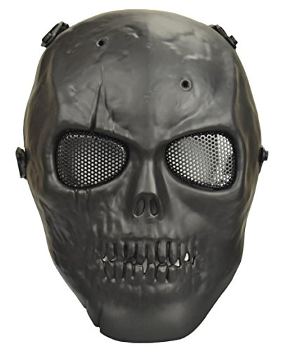 (Jadedragon Tactical Paintball Full Face Skull Skeleton Mask with Metal Mesh Eye Protection For BB Gun/CS Game/Paintball/Hunting (Black))