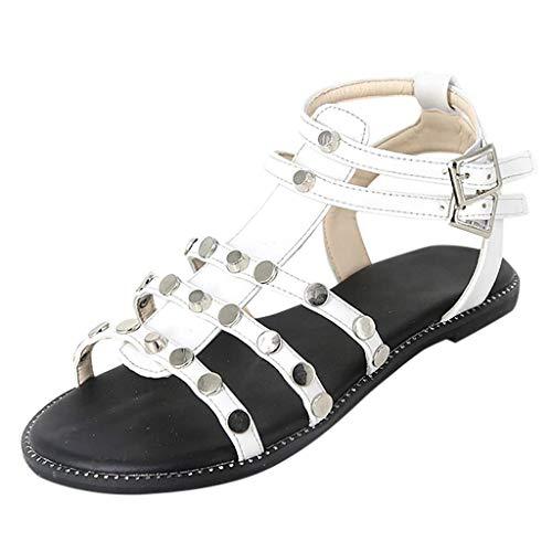 Hilotu Women's Rivets Gladiator Flats Sandals Summer Open Toe Casual Buckle Strap Adjustable Buckle T-Strap Strappy Flats Thong Sandals Dress Shoes (Color : White, Size : 5.5 M US) ()