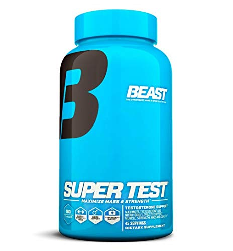 Beast Sports Nutrition Super Test Testosterone Test Booster - 180 Caps Enhancement Natural Stamina, Endurance and Strength Booster - Guaranteed Results.