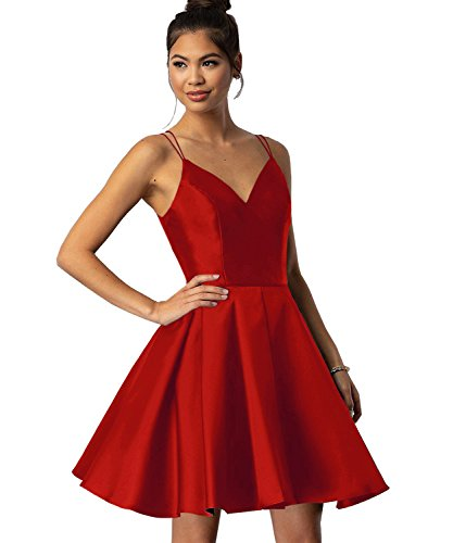 Women's Spaghetti Straps V Neck Satin Short Homecoming Dress A Line Evening Party Gown Ruched Skirt Size 2 Red ()
