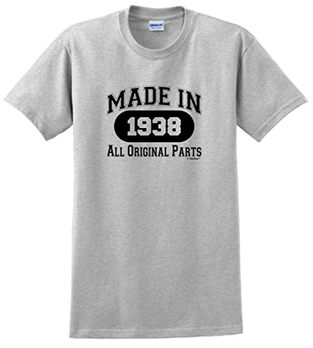 80th Birthday Candles Cards 80th Birthday Gift Made 1938 All Original Parts T-Shirt Large Ash
