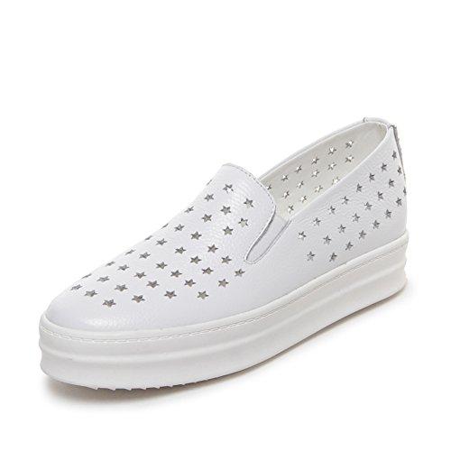 Primavera/verano, zapatos de cuero/Sandalias planas/Zapatos de suela gruesa perezoso/Zapatos de mujer casual A