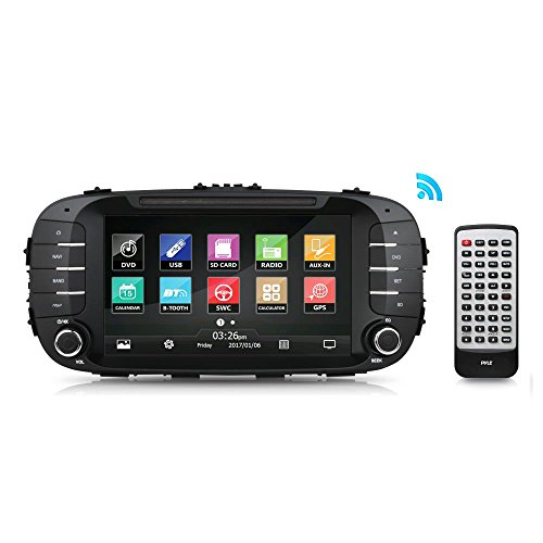 Pyle PKIASOUL14 2014 Double Din - Replacement Touchscreen Car Head Unit Stereo Radio Receiver with USB, GPS Navigation System, Compatible to Bluetooth, DVD Player, Wireless and Hands-Free ()
