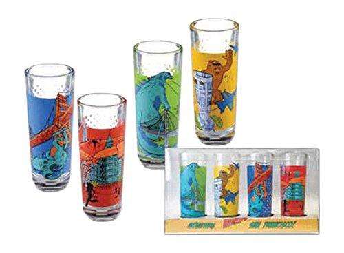 (San Francisco Monster Invasion Set of 4 Shot Glass Shooters - A California souvenir Shot Glass Set )