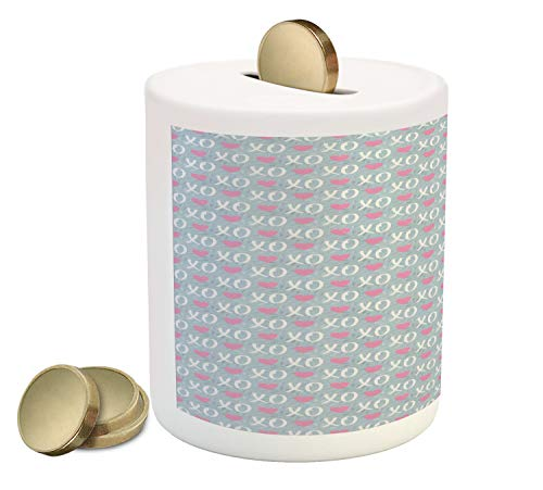Ambesonne Abstract Piggy Bank, Valentines Day Concept Modern Era Xo Messages on Olive Three Branches Background, Printed Ceramic Coin Bank Money Box for Cash Saving, Multicolor