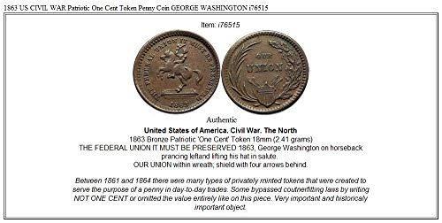 1863 1863 US CIVIL WAR Patriotic One Cent Token Penny coin Good at