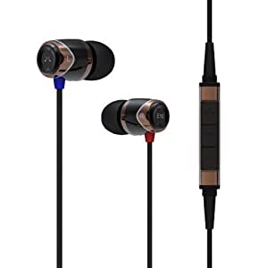 SoundMAGIC E10M Noise Isolating In-Ear Headset with Mic and Remote for iPhone/iPad/iPod, Black/Gold