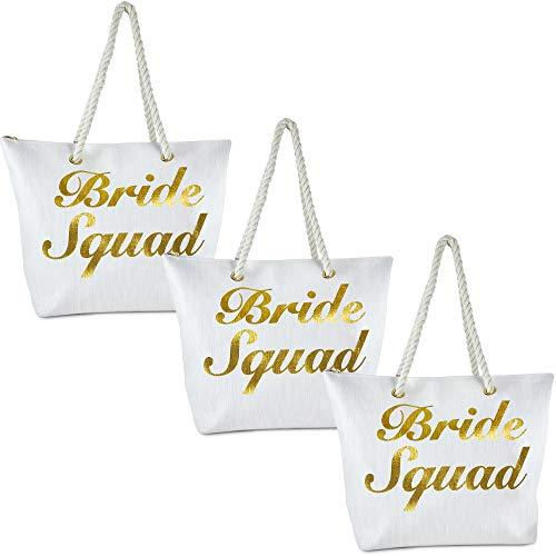 BG-717-3-BS09 Beach Bag 3PK: Bride Squad (White)