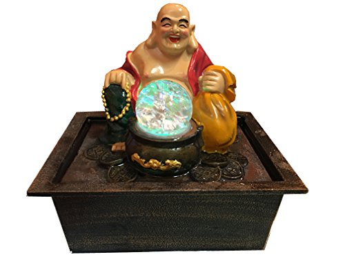 Tabletop Water Fountain with LED Lights 9.5 Inch Tall Decorative Sculpture with Happy buddha
