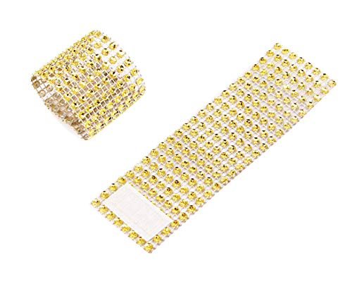 TIAMALL 100 PCS Rhinestone Napkin Rings Napkin Holder Adornment for Wedding Party (Gold)