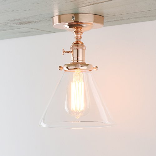 Permo Vintage Industrial Semi Flush Mount Ceiling Light Fixture Pendant Lighting with Funnel Flared Clear Glass Shade (Copper) (Copper Light Fixture)