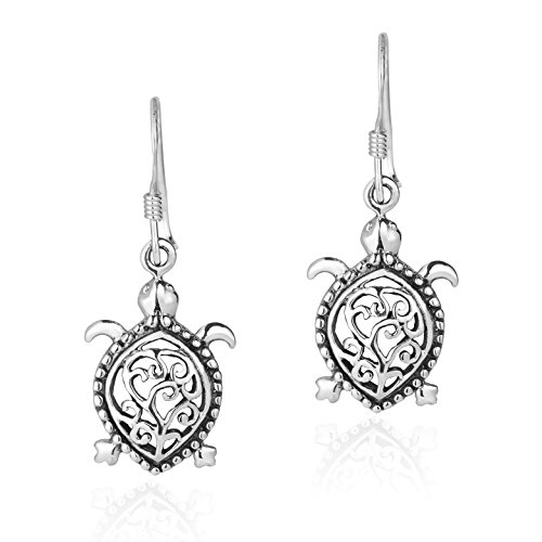 Detailed Swirl Pacific Turtle .925 Sterling Silver Dangle Earrings (Sea Pacific Earrings)