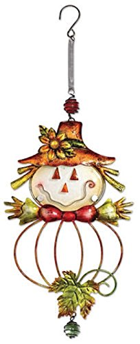 Sunset Vista Designs Metal and Glass Fall Scarecrow Bouncy Hanging Decoration