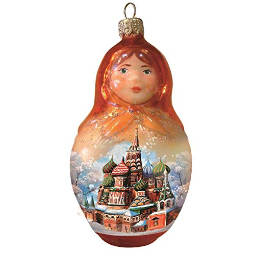Ornament Doll Glass - Books.And.More Hand-Painted Moscow Matryoshka Doll Christmas Ornament - Glass Christmas Tree Decorations