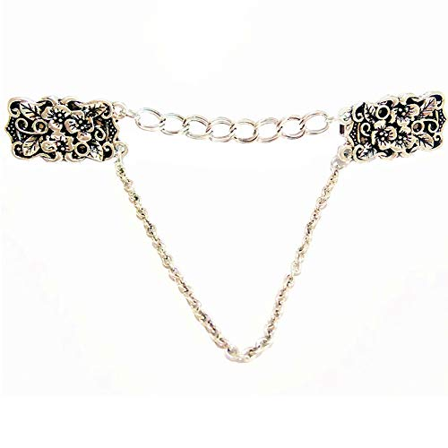 Ever Cute Antique Silver Sculpture Flower Cardigan Clip Filigree Double Chain Sweater Guard Clip Collar Pin Cinch for Clothes Dress Waist -