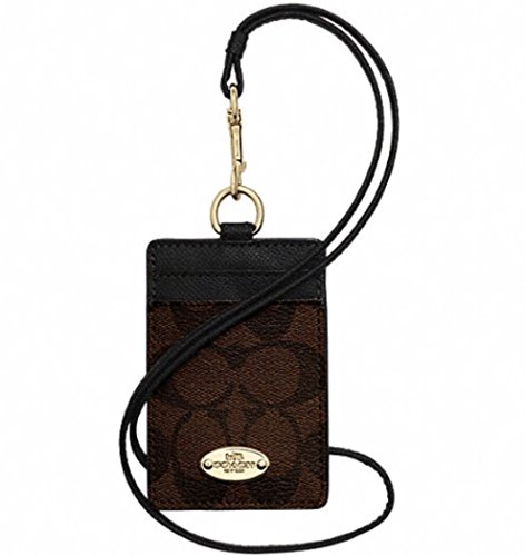 Coach Signature C Brown Black Lanyard, Badge ID Credit Card Holder 63274 (Coach Key Leather)