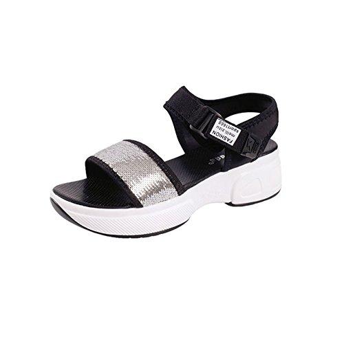 Glitter Heels Slip Sparkle On Summer T Womens Breathable Platform Silvery Ladies Roman JULY Sandals Dressy Wedge Slippers Fashion IY7P7XZ