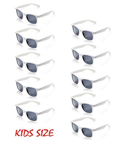 10 Neon Colors Unisex Wholesale Sunglasses for Kids Party Favor Supplies (10White)
