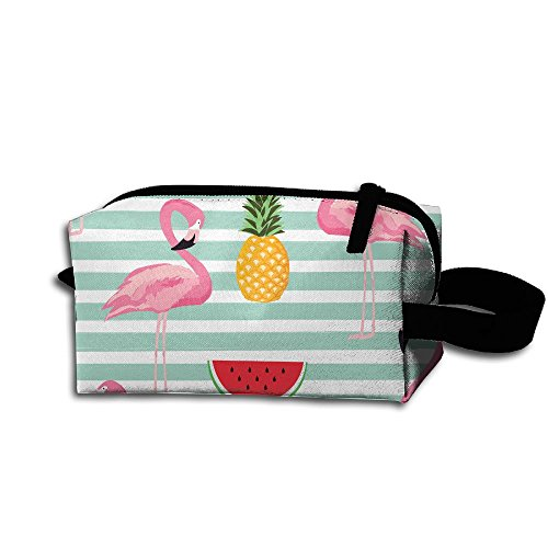 XIELIAN Aloha Flamingo And Watermelon Makeup Bag Printing Travel Portable Cosmetic Bag Stationery Storage Pouch Bag Multi-function Bag For Girl Women Men -