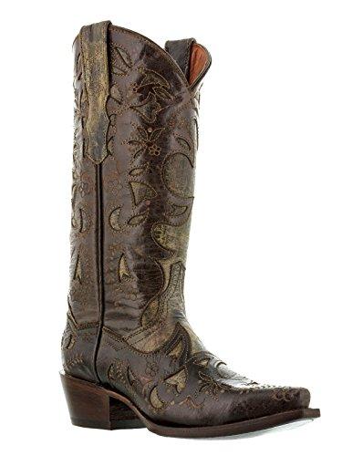 Stivali Da Cowboy In Pelle Marrone Da Donna Sovrapposti Color Marrone Con Cuciture Da Cowboy