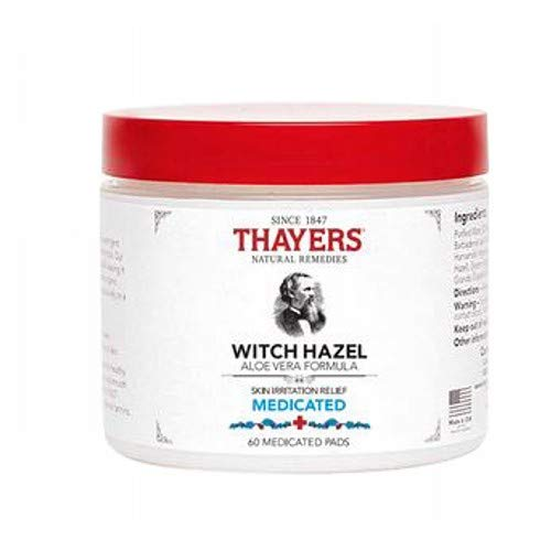 Thayers Superhazel Medicated Pads, with Aloe Vera Formula, 60 Medicated Pads (Pack of 3)