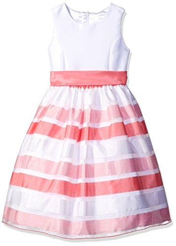 American Princess Little Girls' Toddler Solid Bodice Stripe Skirt Organza Dress, Coral, 2T