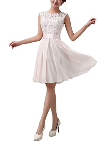 Gprince Scoop neck Sleeveless Waist Chiffon Lace Stitching Short Evening Dress White Size S