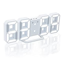 EAAGD Electronic LED Digital Alarm Clock [Upgrade Version] , Clock Can Adjust the LED Brightness Automatically in Night (White/White)