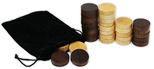 (DA VINCI Wooden Backgammon and Checkers Pieces 30 Replacement Game Chips with Cloth Storage Bag (1)