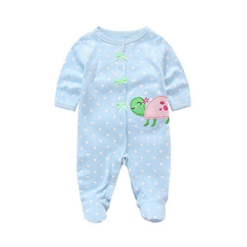 Fairy Baby Baby Boys Girls Footie Pajamas Long Sleeve Animal Print Sleep Play Romper Size 0-3M (Blue Turtle) ()