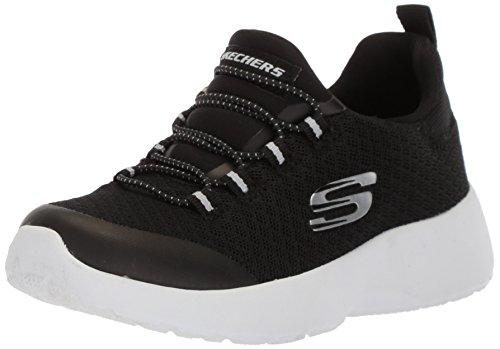 Skechers Kids Girls' Dynamight-Race N'Run Sneaker,black/white,12 Medium US Little Kid (Girls Race)