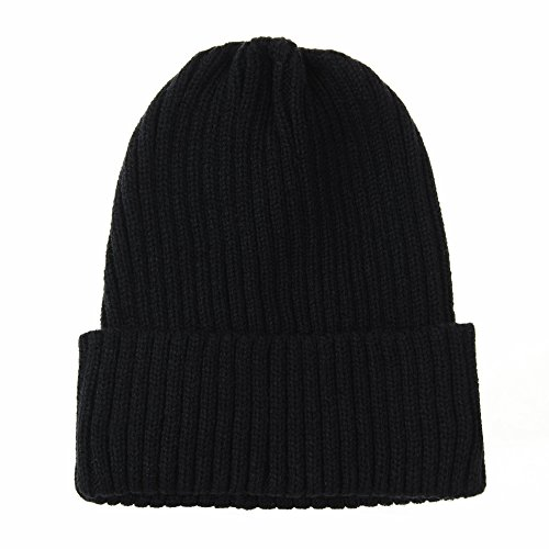 Black Basic Knit Beanie - WITHMOONS Knitted Ribbed Beanie Hat Basic Plain Solid Watch Cap AC5846 (Black)