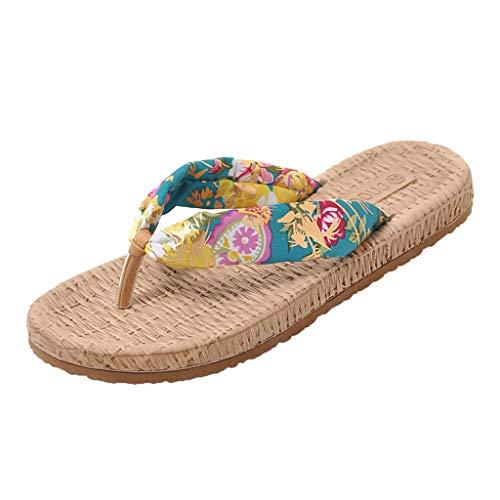 Selou_Damen Schuhe Espadrille Sandals for Women, Huazi2 Ladies Fashion Flat Beach Shoes Sandals Flip Flops Slippers Blue (Spike Sneaker Adams)