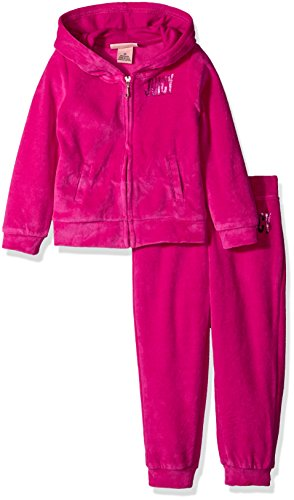 Jacket Pants And Hooded - Juicy Couture Little Girls' 2 Piece Velour Hooded Jacket and Pant Set, Hot Pink, 4