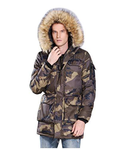 Militaire Capuche Parka Blousons Noir Camouflage xxl Xs Hiver Homme Fourrure Doudoune Taille Veste Chaud Épais Avec Manteaux 7XvPqw