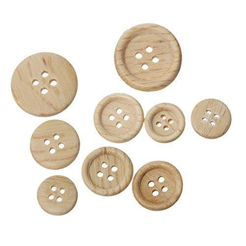 HOUSWEETY 100PCs Buttons Natural Scrapbooking