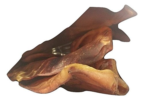 Made In USA #1 Large Smoked 100% All Natural Whole Pig Ears - Best Dog Treats - 5 Pig ears per Bag