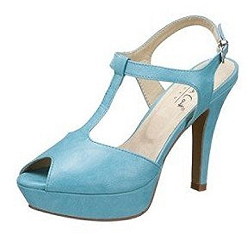 Laura Scott Sandalette - Sandalias de vestir de cuero de imitación para mujer azul - Turquesa
