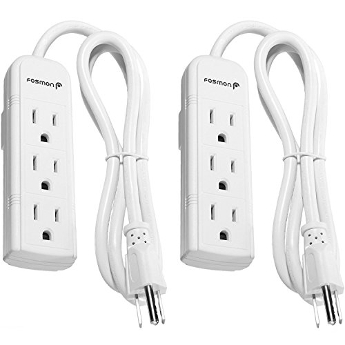 Fosmon 3 Outlet Power Strip Heavy Duty with 3FT Extension Cord (2 Pack), 3 Prong Grounded AC Plug, UL Listed (White)