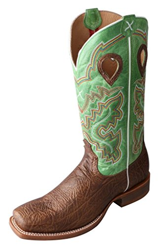 Twisted X Mens Green Leather Antique Shoulder Ruff Stock Cowboy Boots 10D
