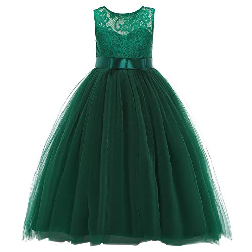 Glamulice Girls Christmas Prom Dress Wedding Bridesmaid Lace Dresses Birthday Pageant Party Gown Age 3-16Y (7-8Y, O-Emerald Green)