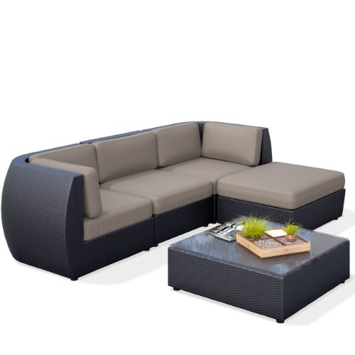 CorLiving PPS-604-Z Seattle Curved 5-Piece Sofa with Chaise Lounge Patio Set