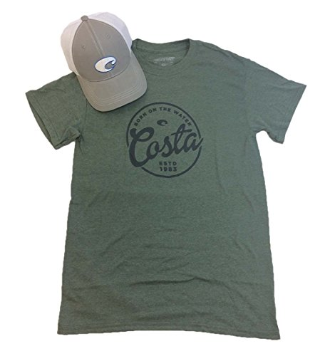 - Costa Del Mar Men's Logo Hat And Freeboard T-shirt Bundle Gift Set-Military Green Heather-small