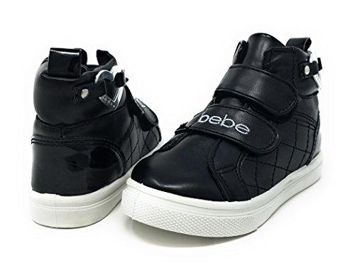 Girl Embellishments (bebe Toddler Girls High Top Velcro Strap Sneaker With Heart Embellishment 5/6 Black/Silver)