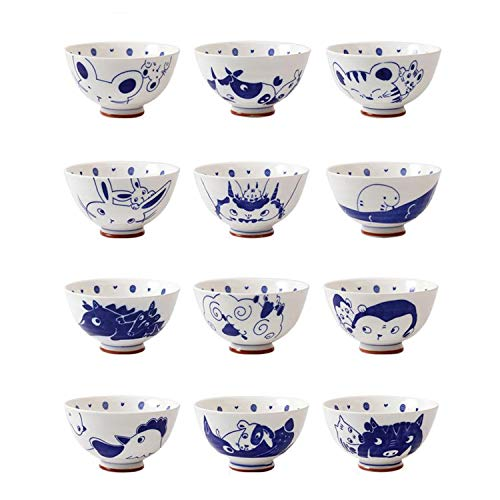 - 12 Zodiac Bowl Set, Hand-painted Ceramic Mixing Bowl, 4.5 Inch Rice Bowl, Chinese Style