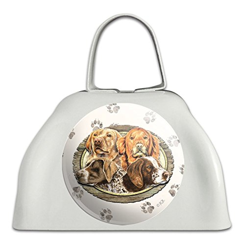 - Hunting Dogs Oval White Metal Cowbell Cow Bell Instrument