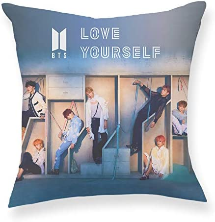Fanstown Kpop BTS Love Yourself Answer Throw Pillow Soft Velvet core Included with lomo Cards H09